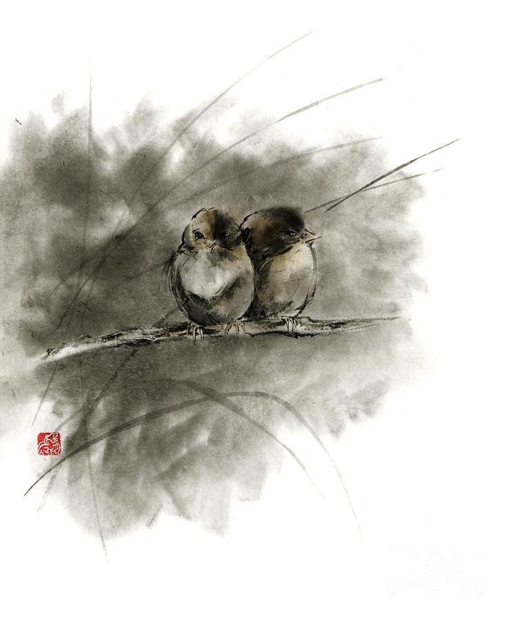 Sumi E Painting - A Pair Of Sparrows Two Birds Brown Bird Original Ink Painting Artwork by Mariusz Szmerdt