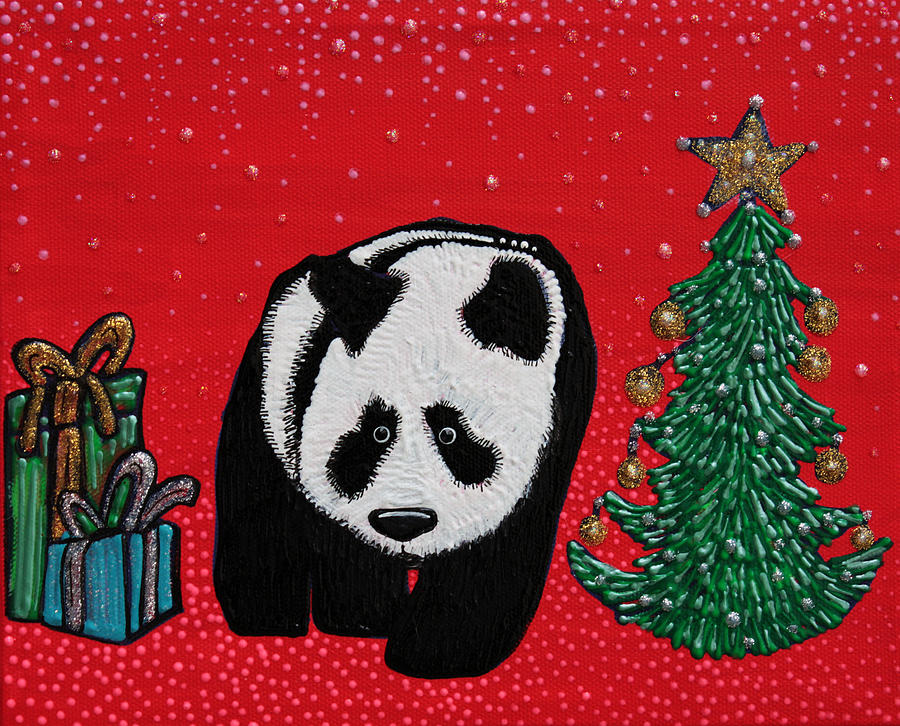 Panda Painting - A Panda For Christmas by Laura Barbosa