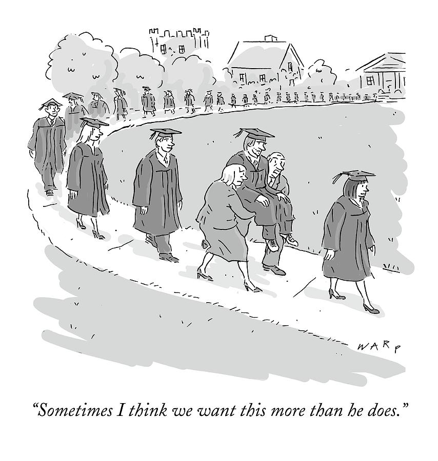 A Parade Of Graduates Is Walking. One Graduate Drawing by Kim Warp