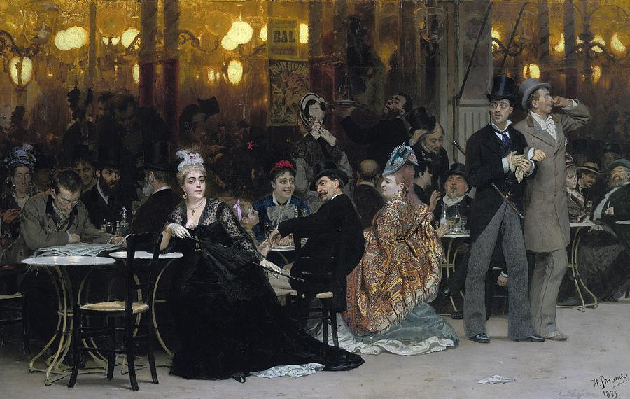 A Parisian Cafe Painting by Ilya Efimovich Repin