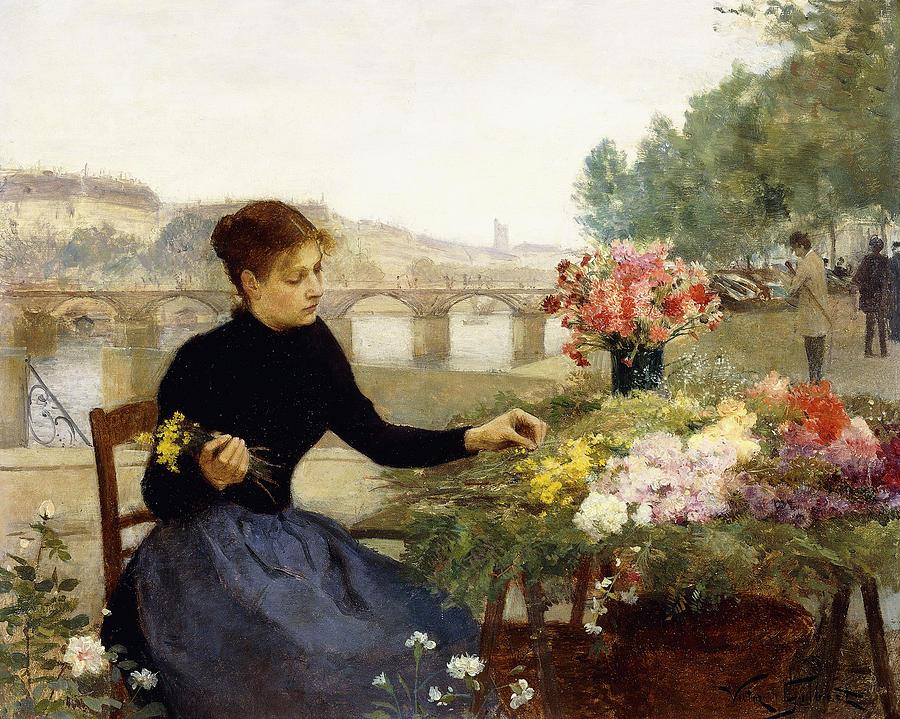 Gilbert Painting - A Parisian Flower Market by Victor Gabriel Gilbert