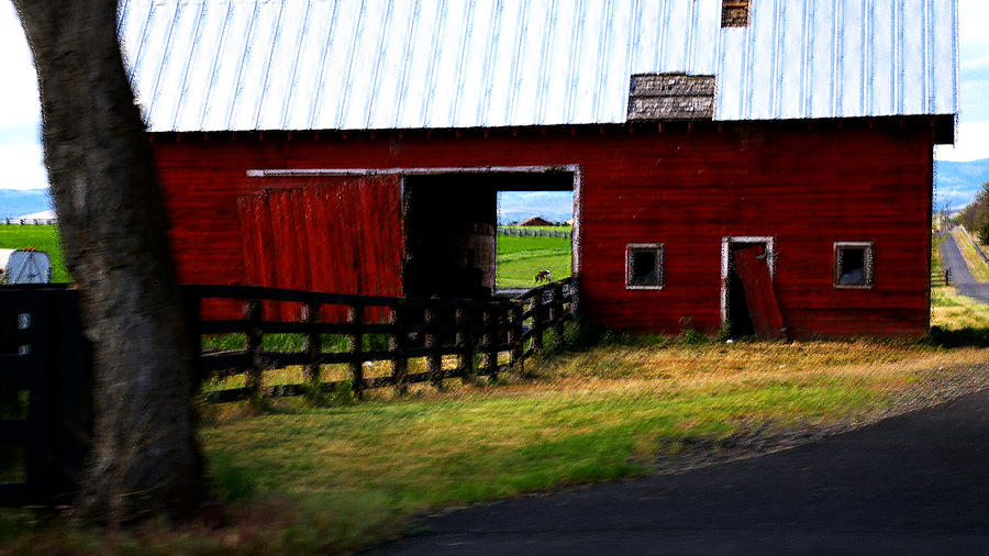 Barn Photograph - A Peaceful Day With A Barn by Christine Burdine