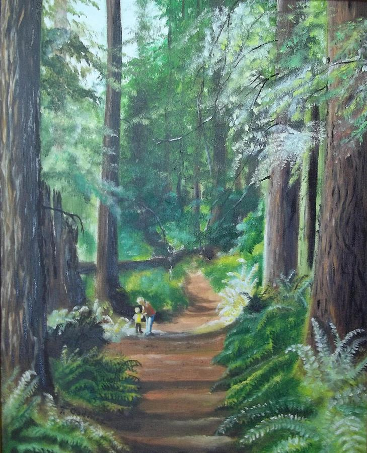Oil Painting - A Peaceful Walk In The Redwoods by Terry Godinez