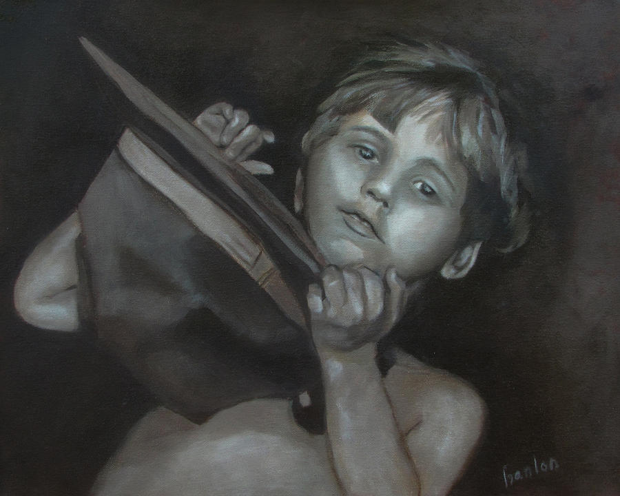 Child Painting - A Penny For Your Thoughts by Susan Hanlon
