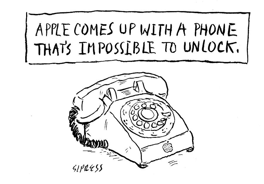 Cartoon Drawing - A Phone Thats Impossible To Unlock by David Sipress