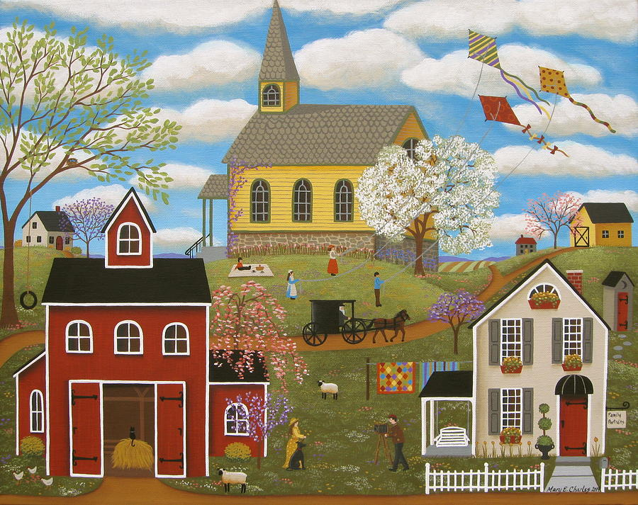 Church Painting - A Picture Perfect Day by Mary Charles