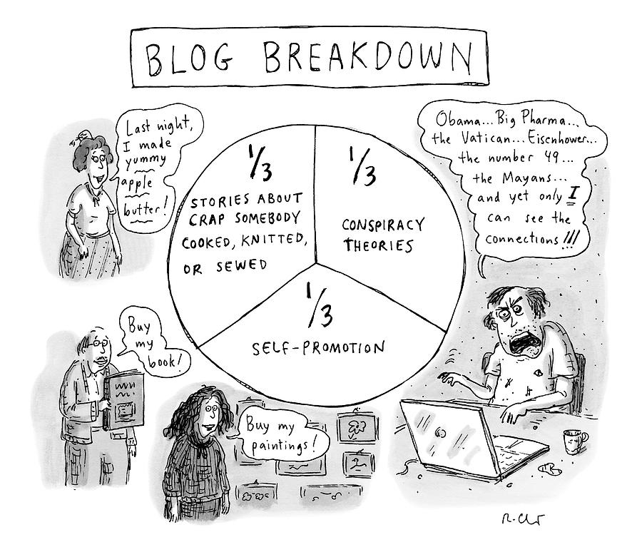 A Pie Chart Titled Blog Breakdown Is Divided Drawing by Roz Chast