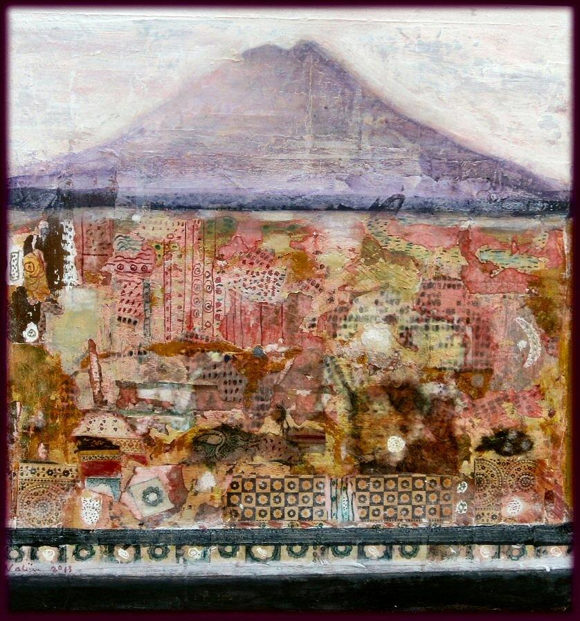 Landscape Mixed Media - A Piece Of The Mountain by Nalini Cook
