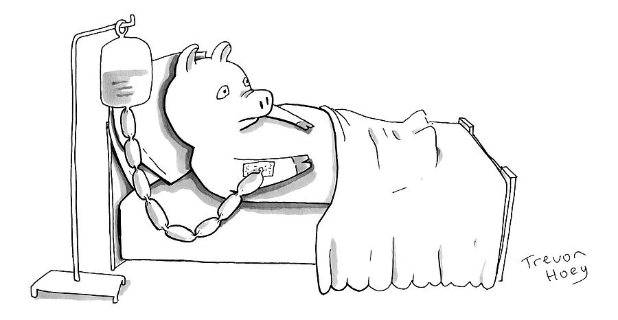 A Pig Is Hooked Up To An Iv Shaped Like Sausages Drawing by Trevor Hoey