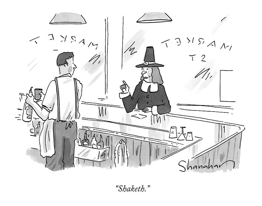 A Pilgrim In A Bar Speaks To The Bartender Drawing by Danny Shanahan