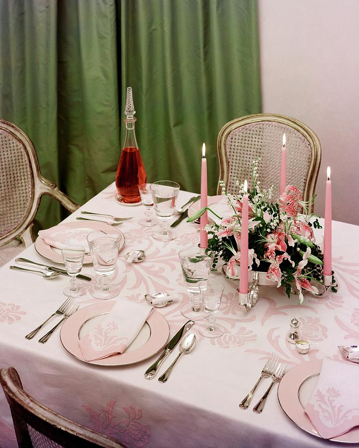Utensils Photograph - A Pink Table Setting by Otto Maya & A Pink Table Setting Photograph by Otto Maya