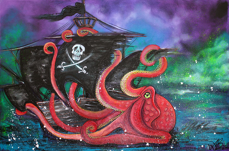 Fantasy Painting - A Pirates Tale - Attack Of The Mutant Octopus by Laura Barbosa