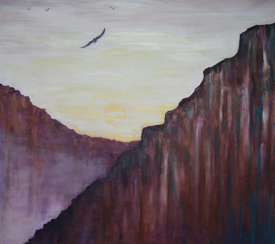 Mountains Painting - A Place To Meditate by Kathy Peltomaa Lewis