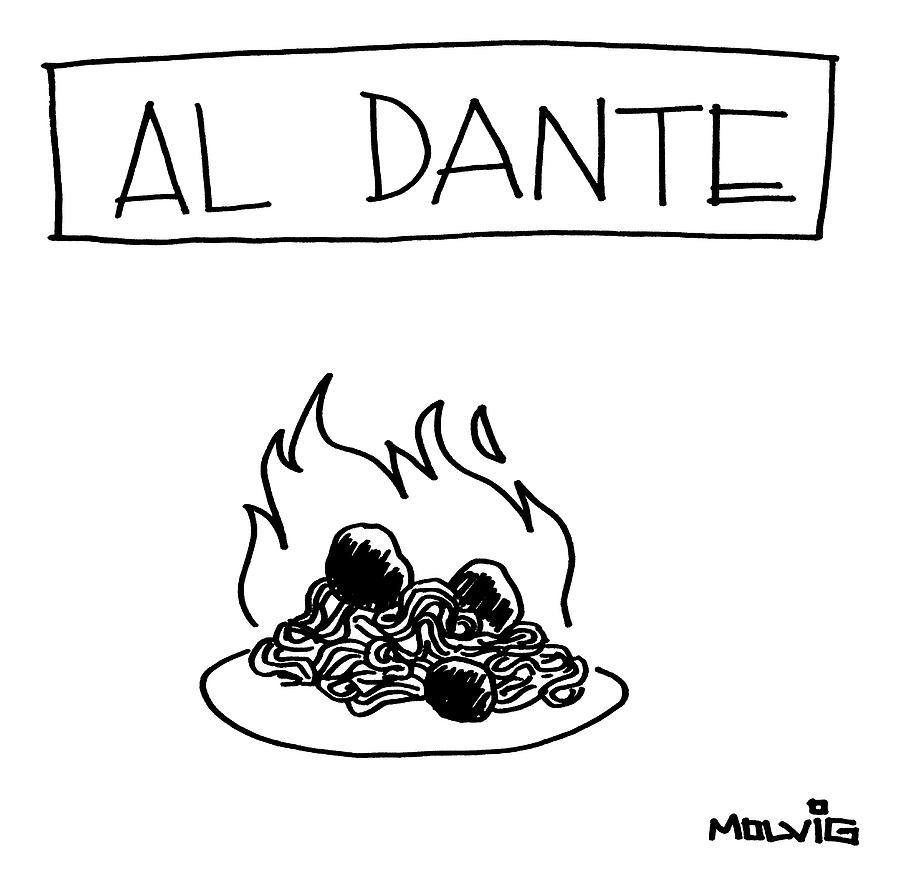 A Plate Of Spaghetti And Meatballs Is Burning Drawing by Ariel Molvig