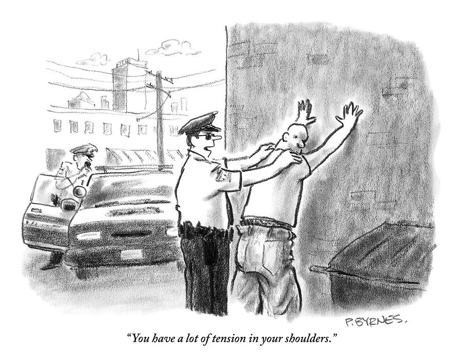 A Policeman Talks To A Man He Is Frisking Or Drawing by Pat Byrnes