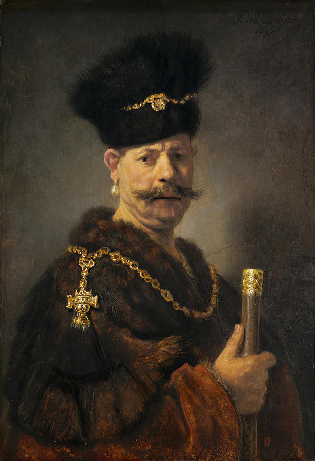 Rembrandt Painting - A Polish Nobleman by Rembrandt