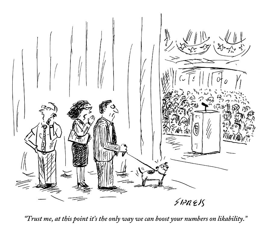 A Political Consultant Gives Her Client A Puppy Drawing by David Sipress