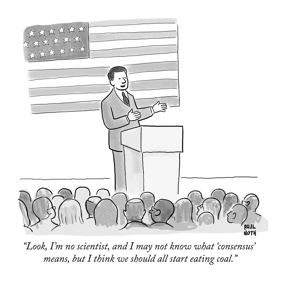 A Politician Delivers A Campaign Speech Drawing by Paul Noth