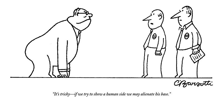 A Politician With The Posture Of A Gorilla Faces Drawing by Charles Barsotti