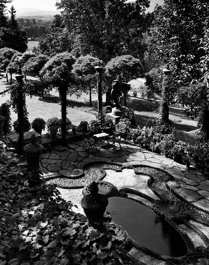 A Pond In An Ornamental Garden Photograph by Gottscho-Schleisner