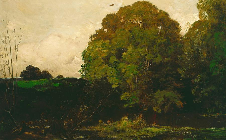 Bird Painting - A Pond In The Morvan by Charles Francois Daubigny