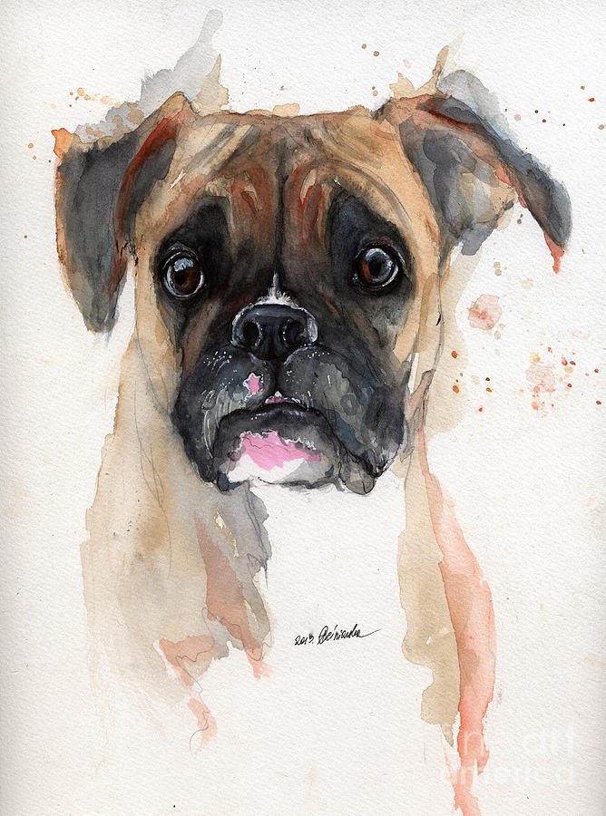 Dog Painting - A Portrait Of A Boxer Dog by Angel  Tarantella