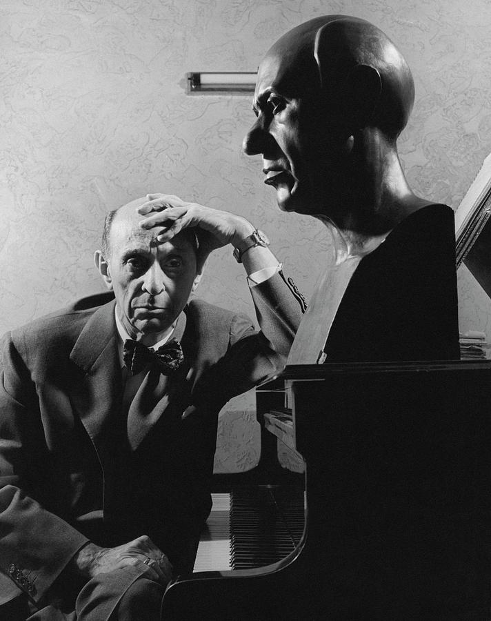 A Portrait Of Arnold Schoenberg Leaning Photograph by Crane Ralph