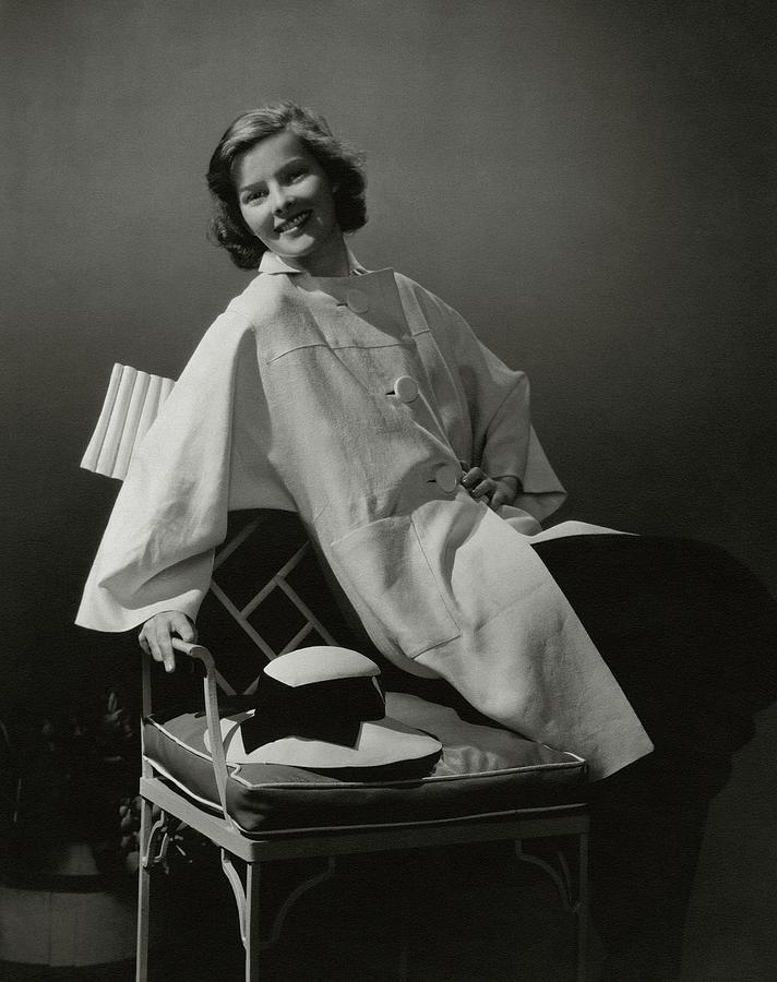 A Portrait Of Katharine Hepburn Wearing A Clare Photograph by Edward Steichen