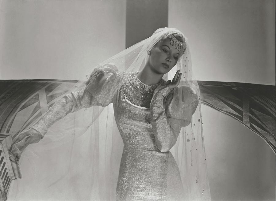 A Portrait Of Lisa Fonssagrives Wearing A Wedding Photograph by Horst P. Horst