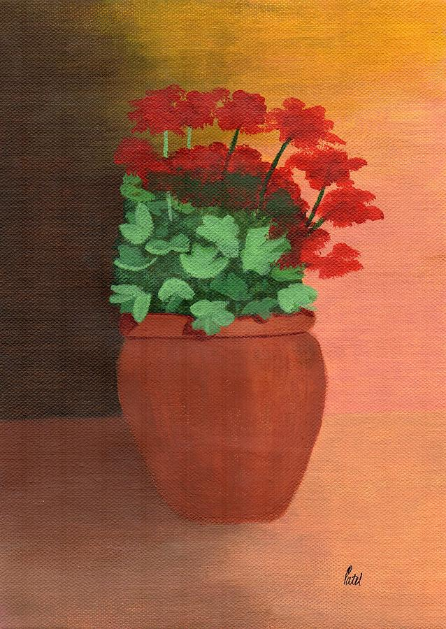 Shadows Painting - A Pot Of Geraniums by Bav Patel