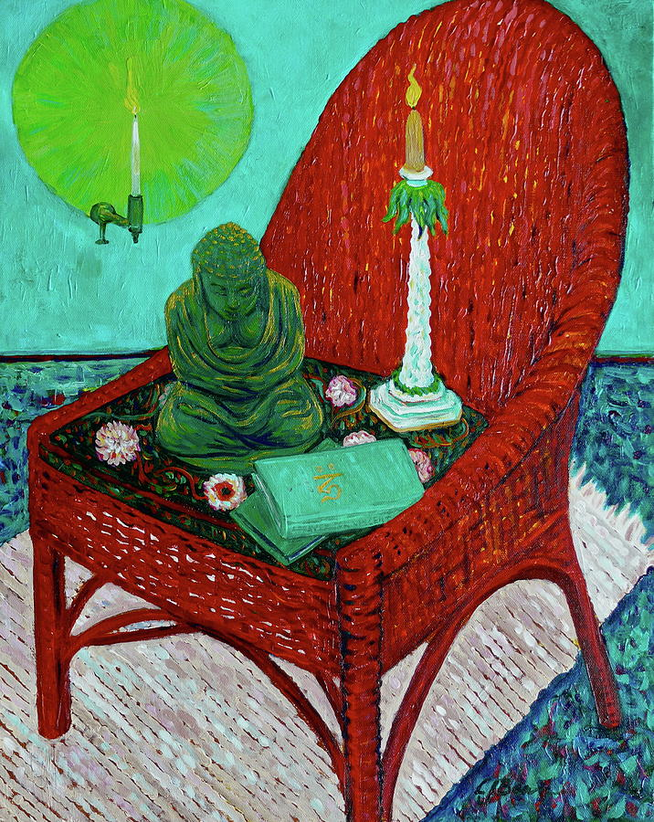 Buddha Painting - A Prayer For Vincent by Linda J Bean