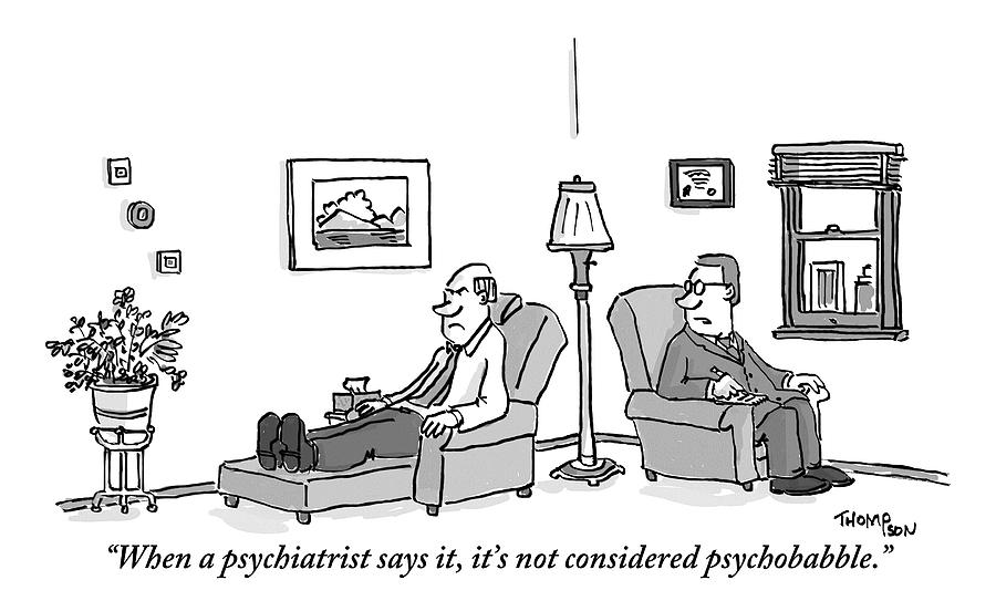 A Psychiatrist To His Patient Who Lies On A Couch Drawing by Mark Thompson