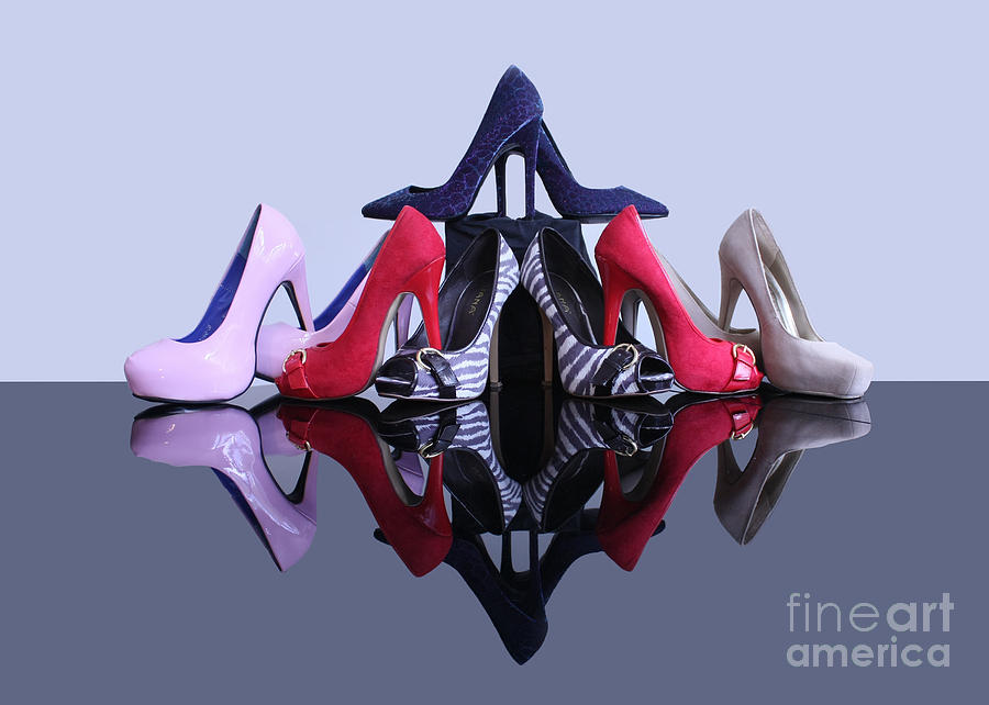 Reflection Photograph - A Pyramid Of Shoes by Terri Waters