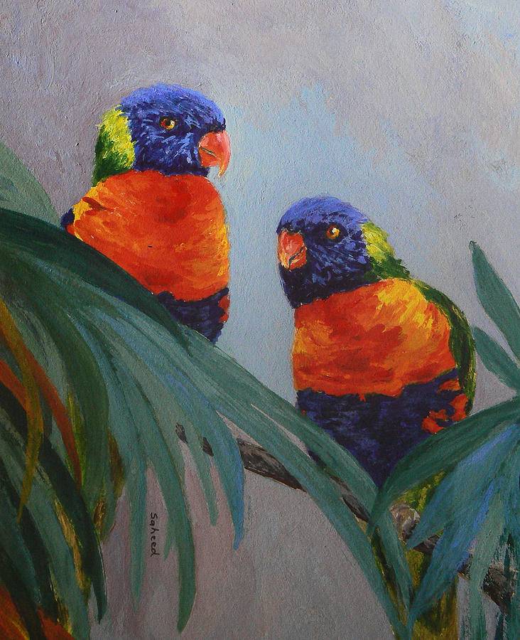Rainbow Lorikeet Painting - A Quiet Moment Together by Margaret Saheed