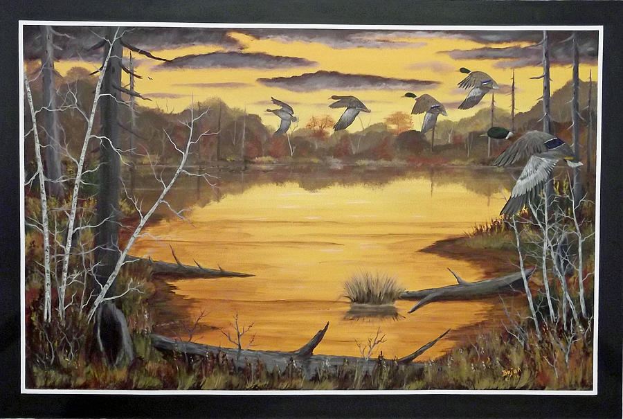 Mallards Painting - A Quiet Spot by Rudolph Bajak