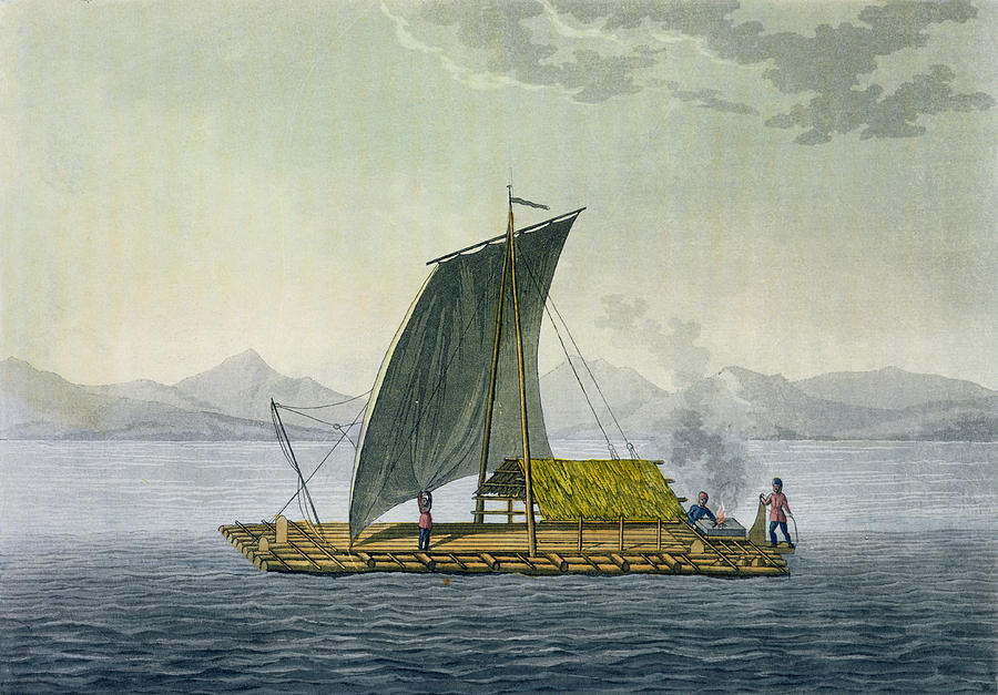 Giulio Drawing - A Raft Leaving The Port Of Guayaquil by Friedrich Alexander, Baron von Humboldt