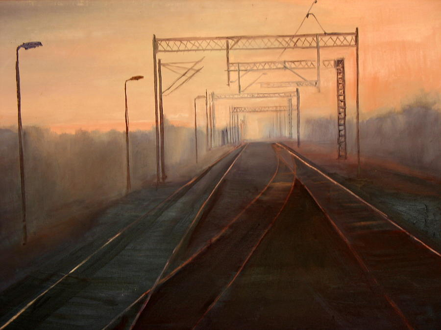 Landscape Painting - A Railway Impression IV by Marta Zamarska