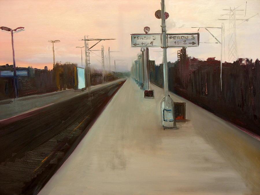 Landscape Painting - A Railway Impression V by Marta Zamarska