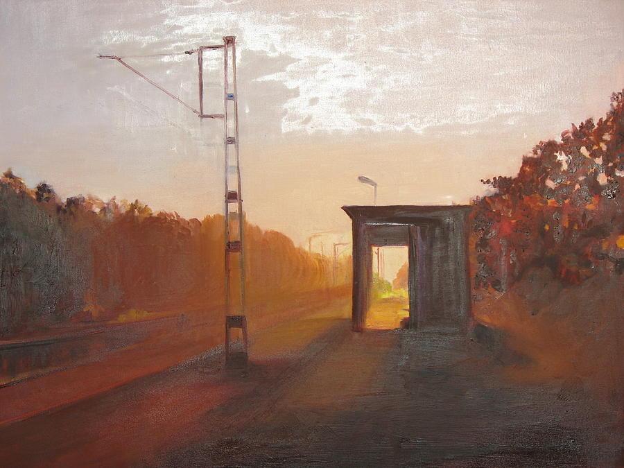 Landscape Painting - A Railway Impression VII by Marta Zamarska