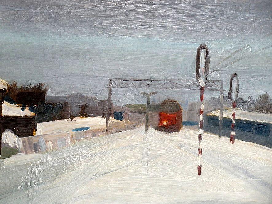 Landscape Painting - A Railway Impression XVII by Marta Zamarska
