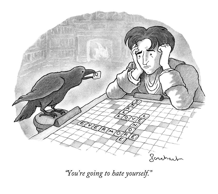 A Raven Is About To Add An N To The Word Evermore Drawing by David Borchart