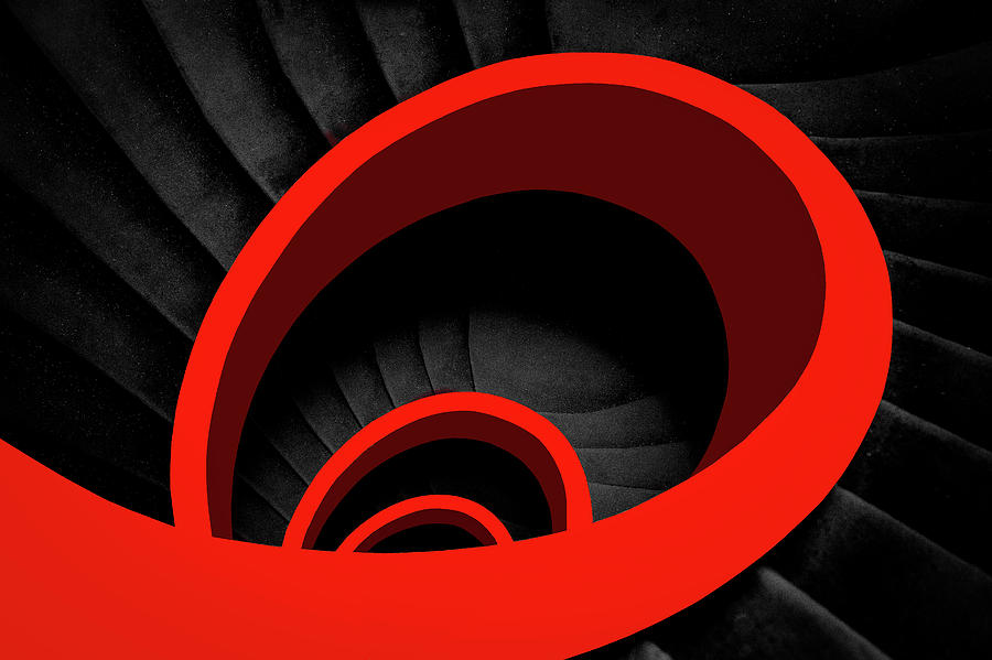 Abstract Photograph - A Red Spiral by Inge Schuster