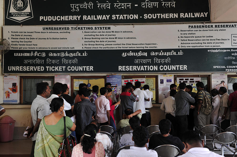 A Reservation Counter At Puducherry (pondicherry) Railway Station In Tamil  Nadu,south India,asia by Frédéric SOREAU
