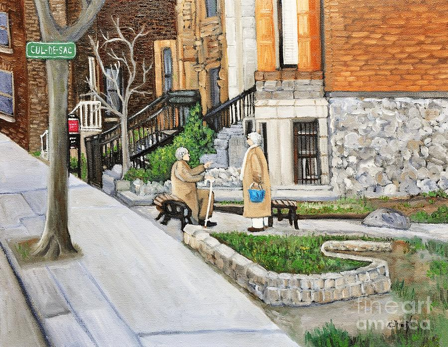 Montreal Painting - A Rest On Summerhill Avenue by Reb Frost