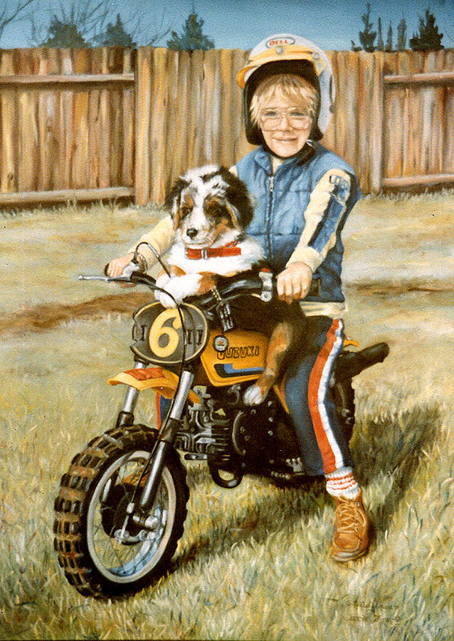 Portrait Painting - A Ride In The Backyard by Donna Tucker