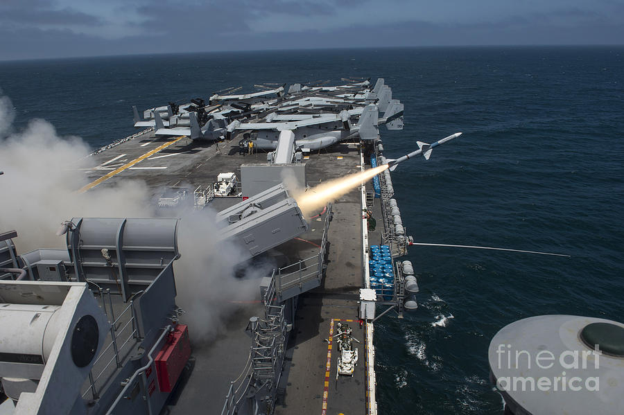 Horizontal Photograph - A Rim-7 Sea Sparrow Missile Is Launched by Stocktrek Images