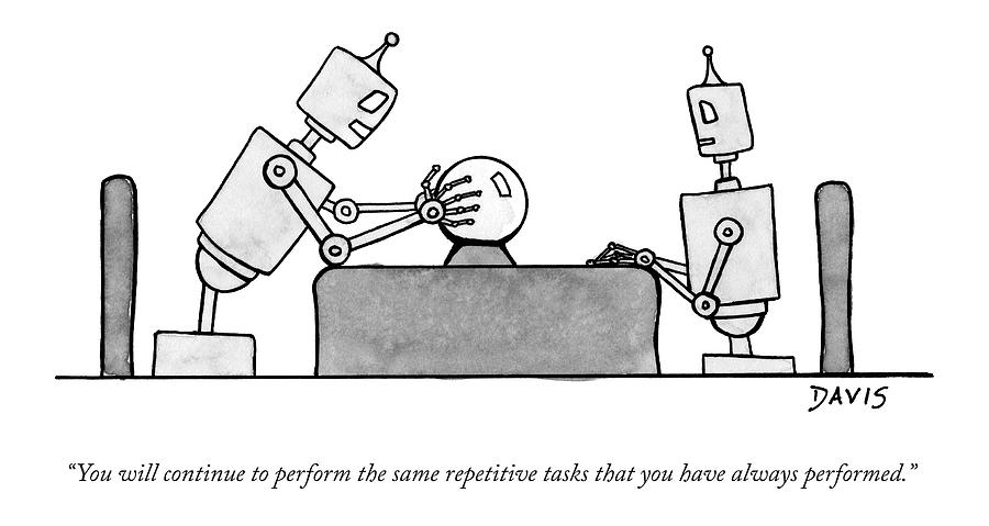 A Robot  Consults A Crystal Ball And Speaks Drawing by Mathew Stiles Davis