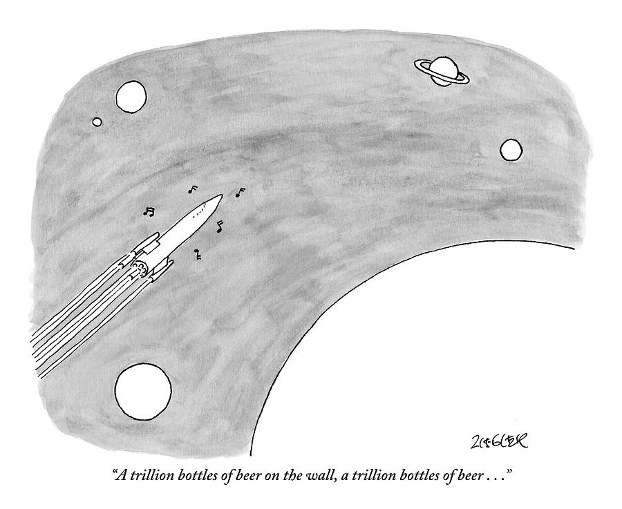 A Rocket Shoots Through Space With Music Notes Drawing by Jack Ziegler