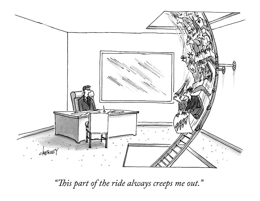 A Rollercoaster Passes Through A Ceos Office Drawing by Tom Cheney