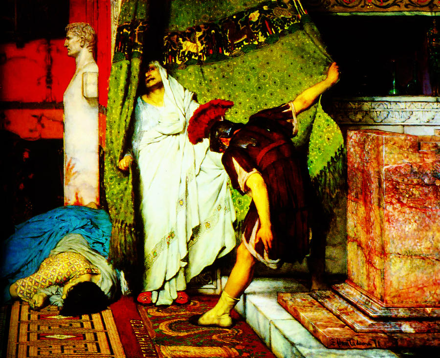 Woman Painting - a roman emperor  by Sir Lawrence Alma Tadema by MotionAge Designs